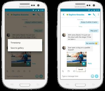 Skypen videotervehdykset voi tallentaa puhelimen galleriaan