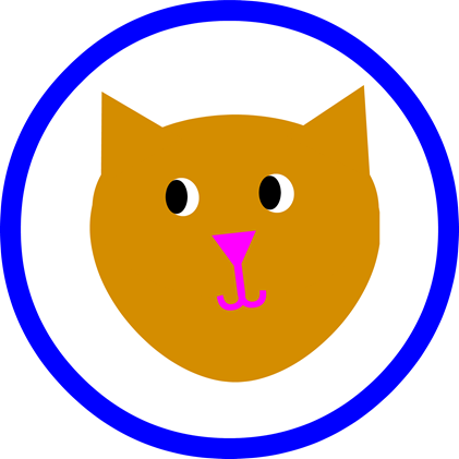 Cat Party Round - Blue