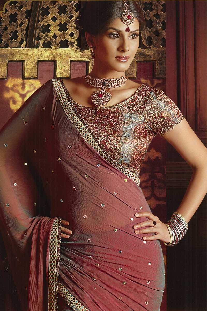 Brown Georgette Wedding Saree