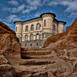 Castel Boccale (Livorno, Tuscany) by Gianluca Presto - Buildings & Architecture Homes ( clouds, home, stair, houses, building, old, cliffs, tuscany, cliff, stone, steps, house, architecture, entrance, historic, geology, sky, ancient, castle, stones, livorno, homes, rocks, italy )