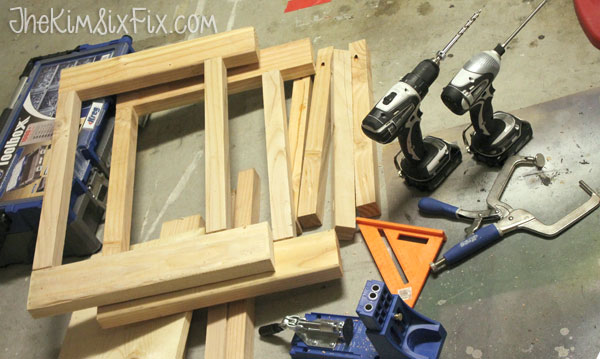 Assembling wooden x leg bench