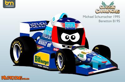Михаэль Шумахер Benetton B195 - комикс pilotoons