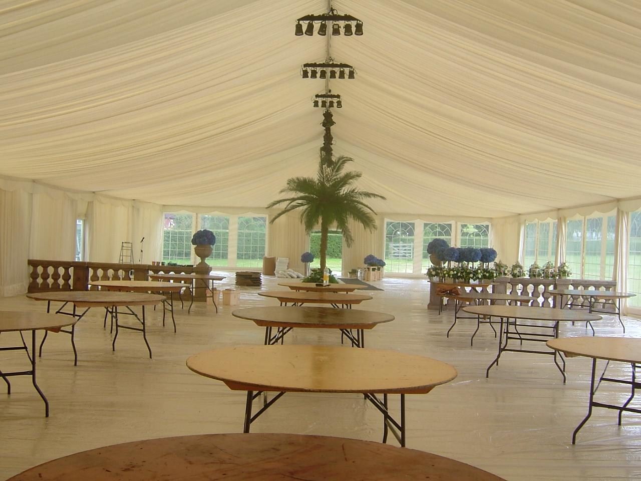 15m Wide Frame Tent Interior,