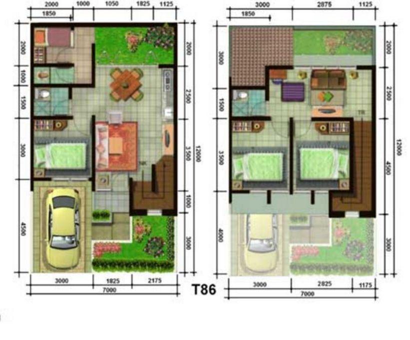 rancangan denah 2 lantai 7x12 yang bagus