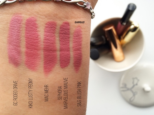 side by side swatches comparing pink lipsticks for asian medium tan olive indian NC40 skin tones