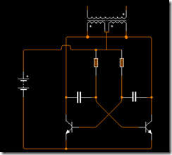 rangkaian dasar inverter dengan 2 transistor