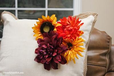 fall pillows, silk flowers, fall flowers