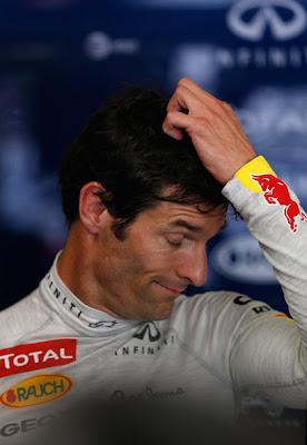 Марк Уэббер чешет репу после квалификации на Гран-при Европы 2012