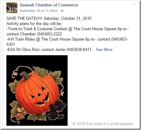 Quanah October 31 Activity poster