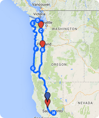 Map of trip to Washington-Oregon