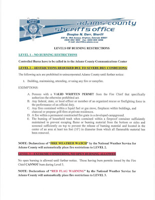 Adams County Sheriff Burning Restrictions