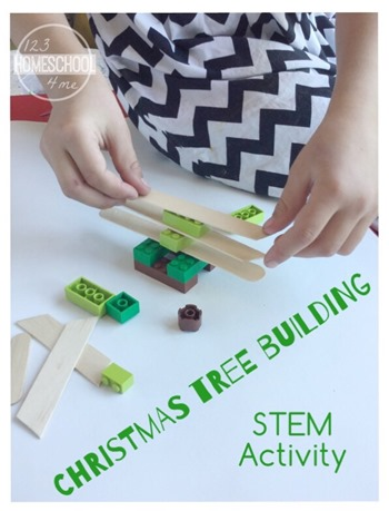 Christmas STEM Actiivty for Kids - Christmas Tree Building