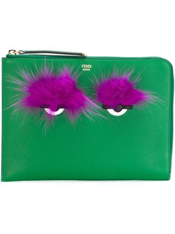 Fendi 'Bag Bugs' Green Clutch Bag, Farfetch.com