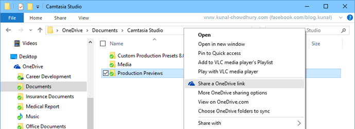 Easily share OneDrive link in Windows 10 (www.kunal-chowdhury.com)