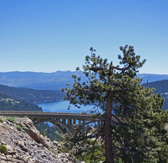 Donner Lake and Donner Summit Bridge from Scenic U.S. 40