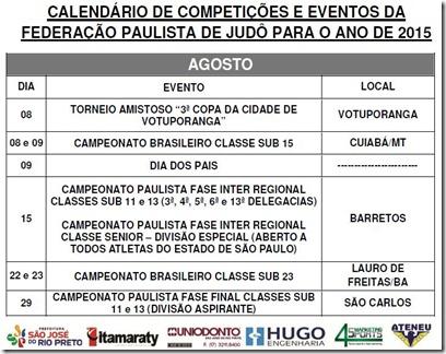 Ano 2015.08 - Calendario Evento de Judo - Agosto