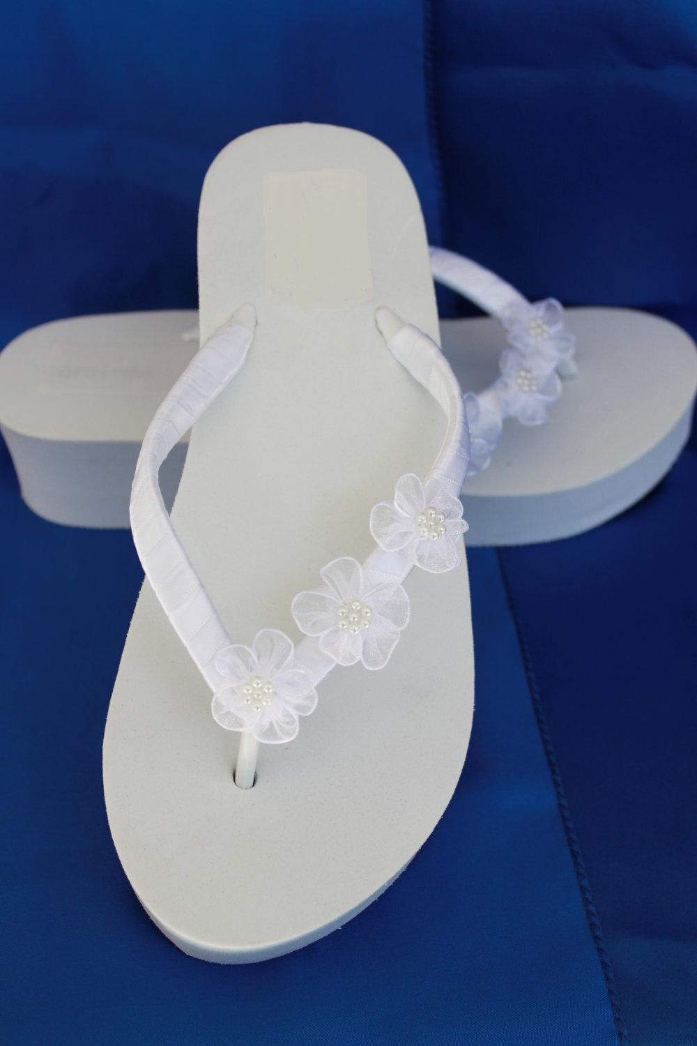 Bridal White Wedge Flip Flops