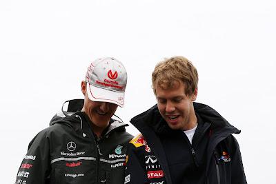 Себастьян Феттель и Михаэль Шумахер на Гран-при Канады 2011