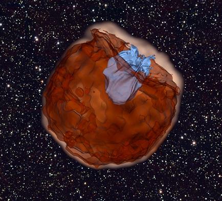 simulação de uma supernova colidindo com sua estrela companheira