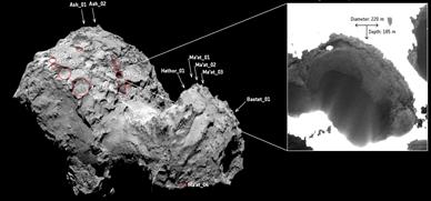 cavidades no hemisfério norte do cometa