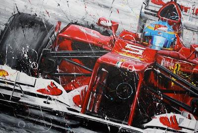 Фернандо Алонсо Ferrari на Гран-при Малайзии 2012 - картина Art Rotondo
