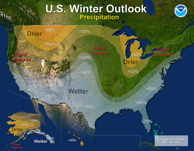 Precipitation - U.S. Winter Outlook: 2015-2016. Click for larger view. (NOAA)