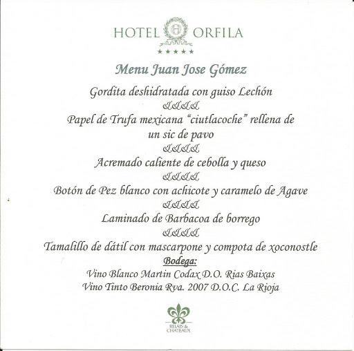 Menú Orfila Gastrofestival 2013