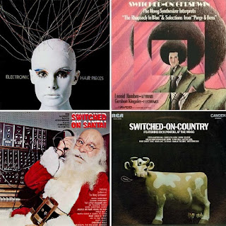 Portadas de varios Moog Albums, como Electronic Hair Pieces de Mort Garson, Switched-On Gershwin de Gershon Kingsley, Switched-On Country de Rick Powell y Switched-On Santa de Sy Mann