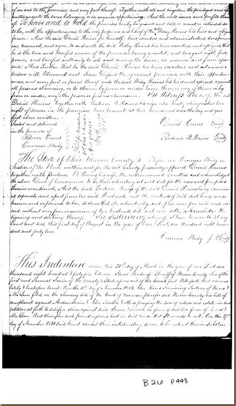 Israel Woodruff conveys land to Samuel Irwin of Warren County, Ohio 1845
