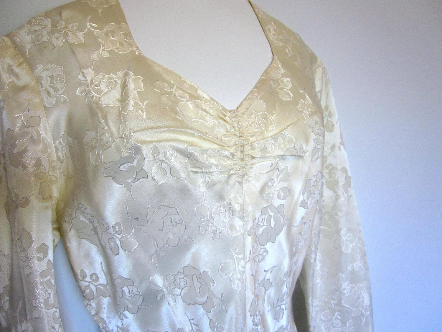 1940s Wedding Dress : THE ONE elegant satin brocade gown