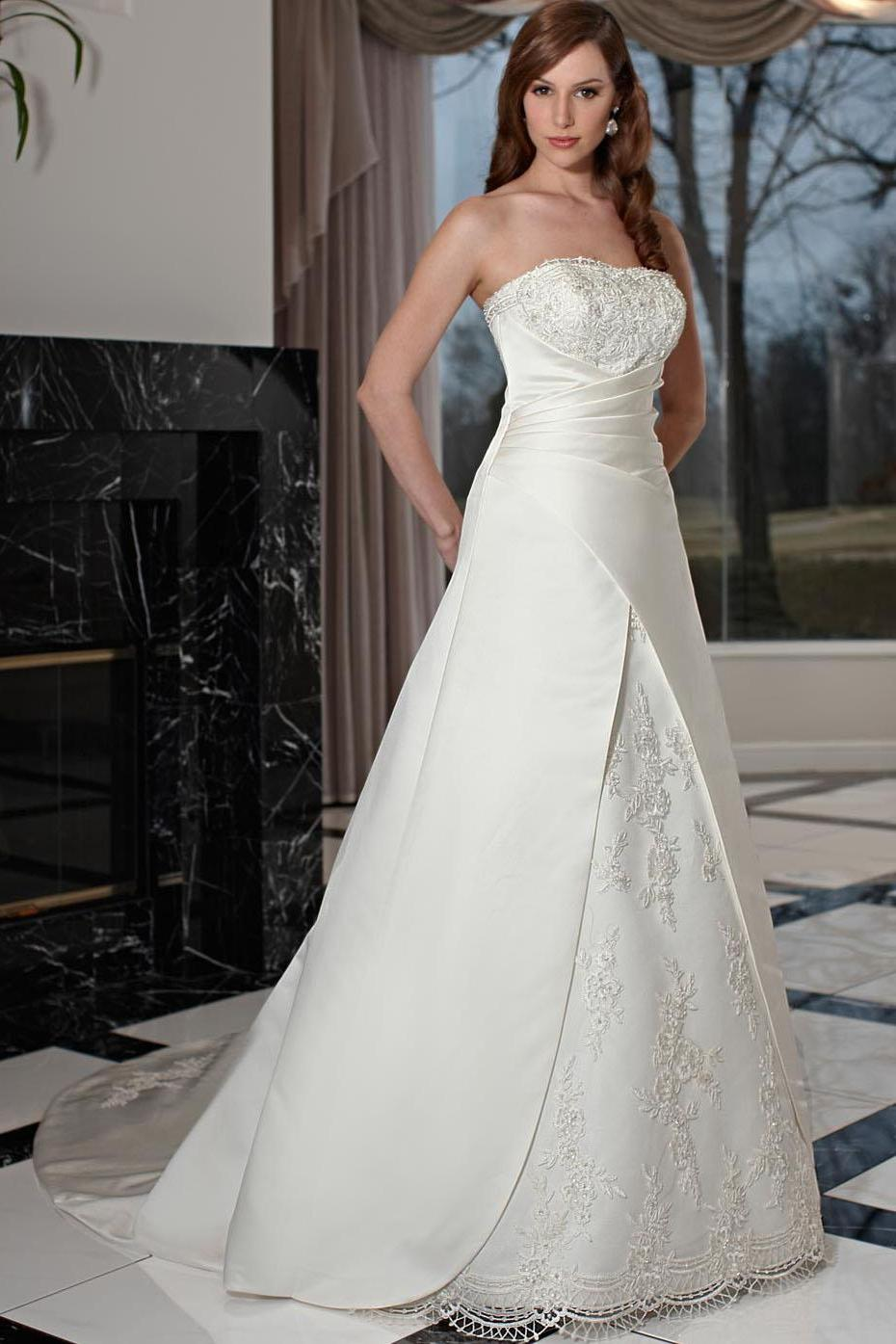 Embroidered Strapless Natural Waist Princess Wedding Dresses aw357
