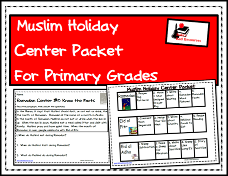 Free download - center packet to teach muslim holidays to primary students. Includes the holidays of Ramadan, Eid al Fitr and Eid al Adha. - From Raki's Rad Resources