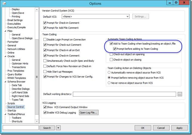 5 - Toad for Oracle 12.6 and TFS 2013 - Associating Work Items with Changesets - Toad Source Control Options