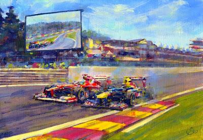 Фернандо Алонсо и Марк Уэббер бок о бок в О Руж на Гран-при Бельгии 2011 - рисунок Rob Ijbema