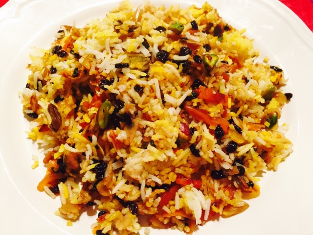 Persian Jewelled Rice Javaher Polow with barberries, pistachios,almonds and saffron