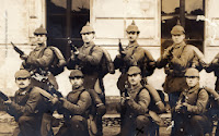 Group of the German soldiers fully equipped
