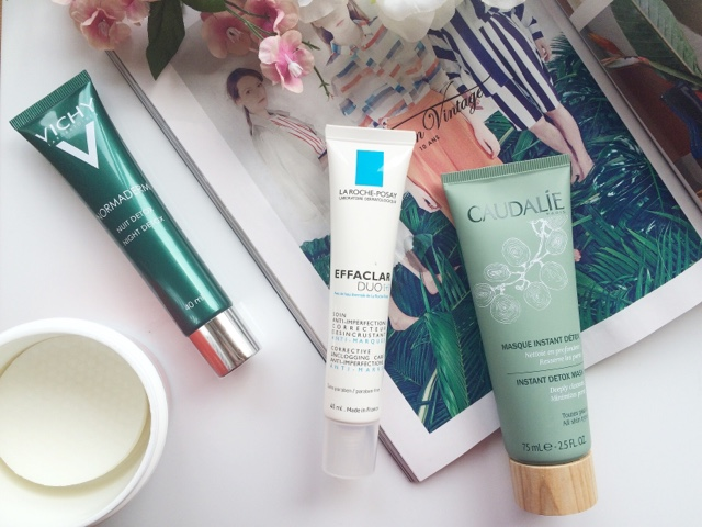 skincare for oily skin, treatments for oily skin, spot treatments, caudalie instant detox mask, la roche posay effaclar duo, first aid beauty blemish control pads, skincare for congestion, congested skin, oily skin, Vichy normaderm night detox, scottish blogger, beauty blogger