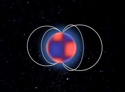 ilustração de uma estrela magnética delta Scuti