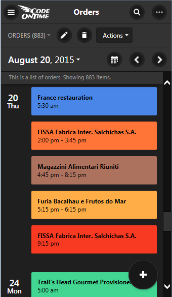 'Agenda' view in Calendar view style of an app created with Code On Time displayed on a screen with small form factor.