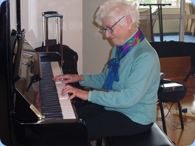 Audrey Hendon playing the Wertheim piano. Photo courtesy of Delyse Whorwood.