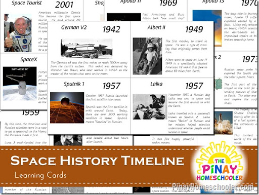 FREE Space Exploration History Learning Cards | The Pinay Homeschooler