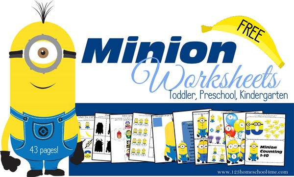 Minion Worksheets with counting, letter m, addition, months of the year and mroe