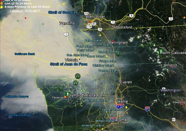 Smoke map as of 3:30 p.m. on 5 July 2015 shows smoke moving to the Olympic Peninsula from Vancouver Island. Photo: Courtesy of Paradise Fire information