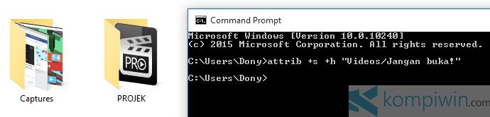 cmd menyembunyikan file folder 2
