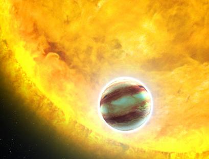 ilustração de um exoplaneta Júpiter quente
