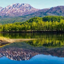 Reflections Lake by Patricia Phillips - Landscapes Waterscapes ( lakes alaska reflections )