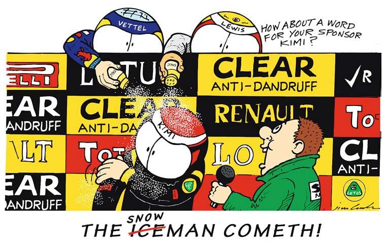 Себастьян Феттель и Льюис Хэмилтон посыпают Кими Райкконена тальком - комикс The Iceman Snowman Cometh от Jim Bamber