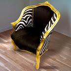 Bergère de style Louis XV tissu velours noir et zébre avec bois doré