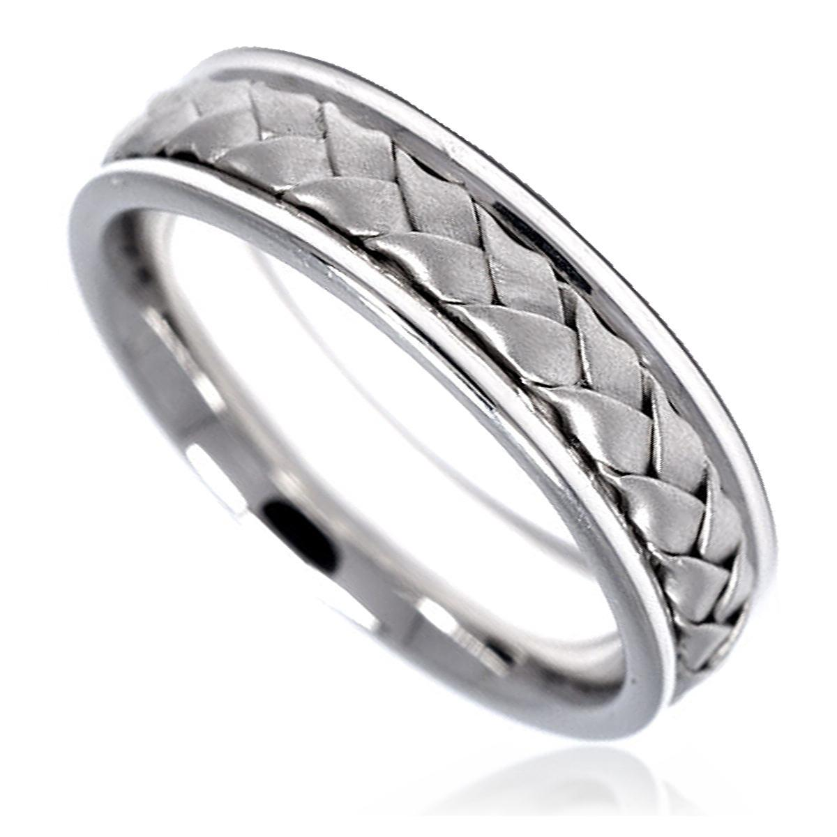 14K WHITE GOLD MEN LADY WEDDING BAND BRAIDED DESIGN 6MM   eBay
