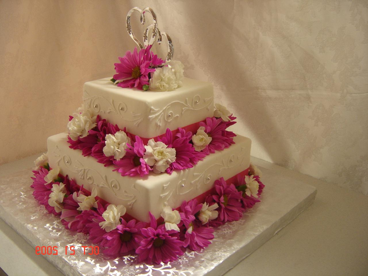 2 tier cake-all in fondant with royal icing scrolls- 10x6 Serves 68 guests